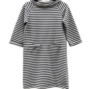 Thyme And Honey Monochrome Striped Knit Dress Lg